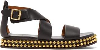 Chloé Beaded Flatform Leather Sandals - Womens - Black