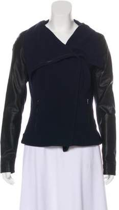 La Marque Leather-Accented Zip-Up Jacket