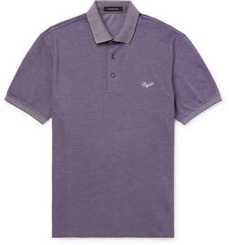 Ermenegildo Zegna Contrast-Tipped Logo-Embroidered Cotton-Pique Polo Shirt - Men - Purple