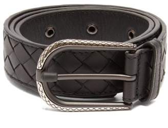 Bottega Veneta Intrecciato Leather Belt - Womens - Black