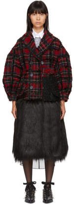 Simone Rocha Red and Black Plaid Double-Breasted Coat