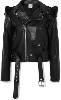 Convertible Leather Biker Jacket - Black