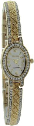 Elgin Women's Diamond Cut & Stone Half Bangle Two Tone Watch EG9857