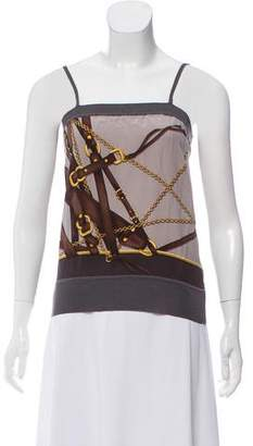 Gucci Equestrian Print Silk Top