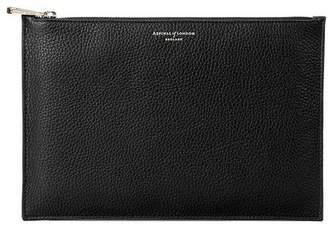 Aspinal of London Large Essential Flat Pouch In Deep Shine Black Croc