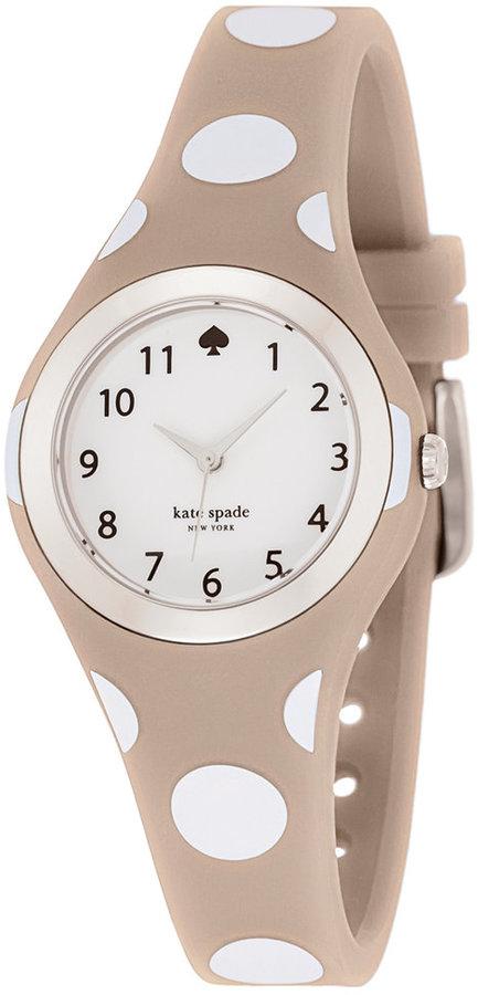 Kate Spadekate spade new york Women's Rumsey White and Gray Polka Dot Silicone Strap Watch 30mm 1YRU0836