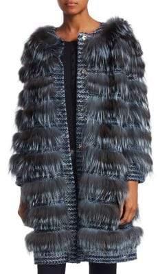 The Fur Salon Striped Fox Fur Coat