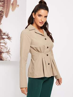 Shein Button Front Notched Neck Utility Top