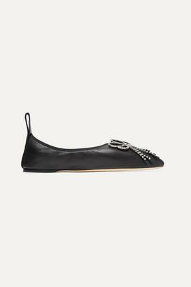 Loewe Crystal-embellished Leather Ballet Flats - Black