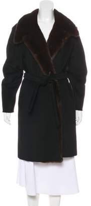 Max Mara Mink-Trimmed Wool Coat Black Mink-Trimmed Wool Coat