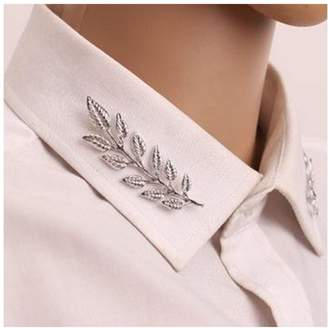 MINGHUA Gentlemen Suit Brooches Simple Elegant Double Leaf Collar Pin Brooch Silver Plant Brooch