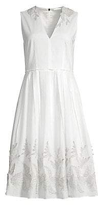 Elie Tahari Women's Astrid Metallic Embroidery Cotton Dress