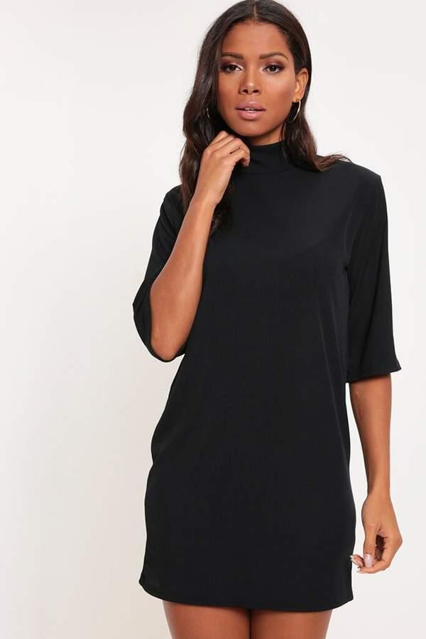 Isawitfirst Black High Neck Rib T-Shirt Dress