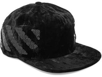 Off-White - Sequin-embellished Velvet Cap - Black $210 thestylecure.com
