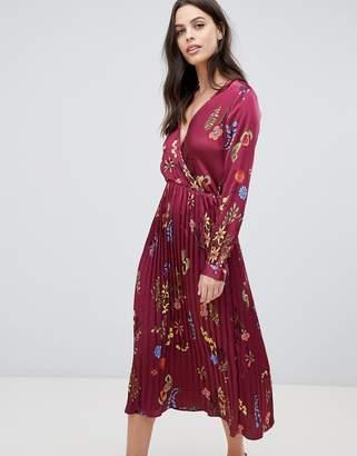 Liquorish floral printed satin midi dress with pleated skirt