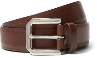 Brunello Cucinelli 3cm Brown Leather Belt - Men - Tan