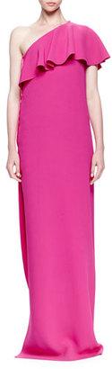 Lanvin One-Shoulder Ruffle Gown $3,350 thestylecure.com