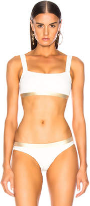 Solid & Striped Madison Bikini Top in Cream & Gold | FWRD