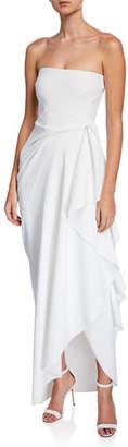Chiara Boni Nyaveth Strapless Bustier Side-Drape Long Dress