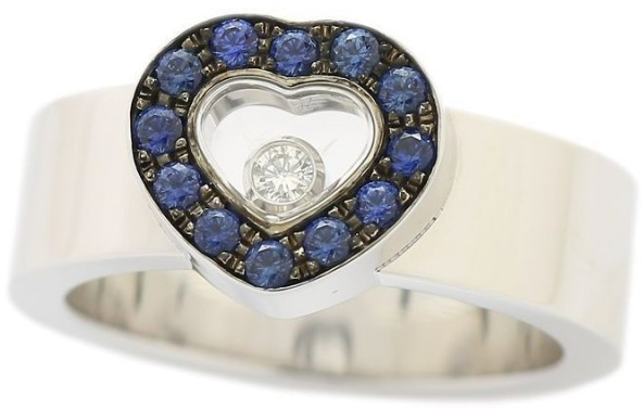 Chopard Chopard 750 White Gold Happy Diamond & Sapphire Heart Ring Size 5.75