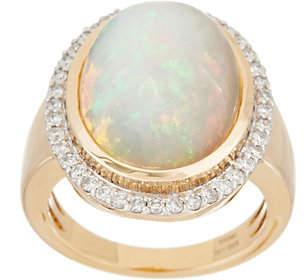 QVC Bold Ethiopian Opal & Diamond Ring, 14K Gold
