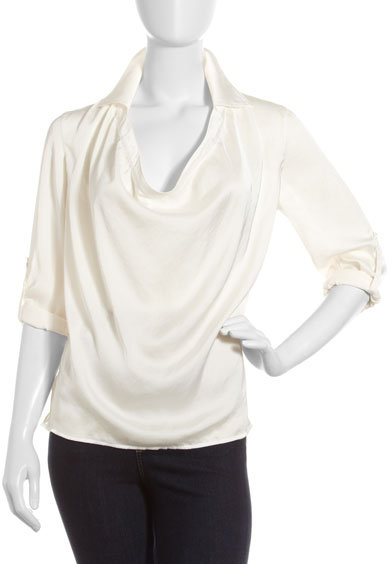 Vince Collared Cowl-Neck Blouse, Off White