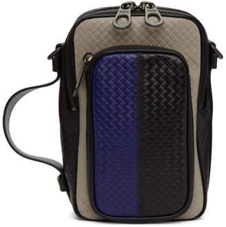 Bottega Veneta Blue and Grey Micro-Intrecciato Embossed Messenger Bag