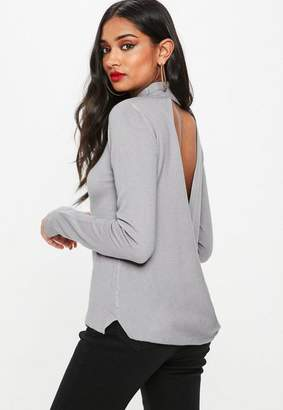 Missguided Gray Drape Back Sweater