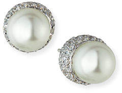 FANTASIA 9mm Pave Pearly Stud Earrings