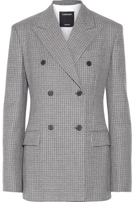 CALVIN KLEIN 205W39NYC - Double-breasted Houndstooth Wool Blazer - Black $1,895 thestylecure.com