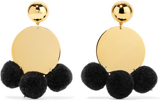 Elizabeth and James - Stevie Pompom-embellished Gold-plated Earrings - one size $125 thestylecure.com