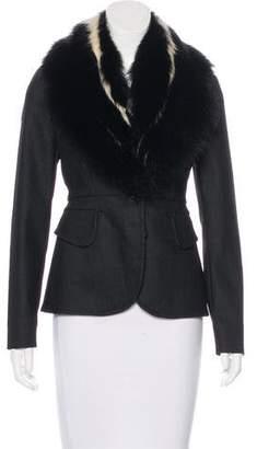Miu Miu Fur-Trimmed Button-Up Jacket
