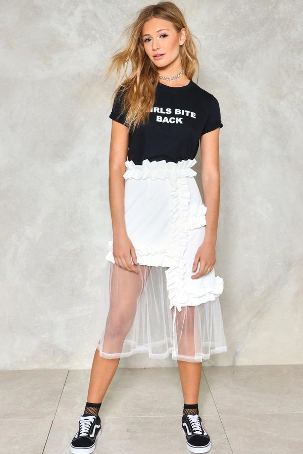 nastygal Ruffle Mesh Skirt