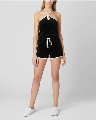 Juicy Couture SOLID VELOUR TRACK HALTER ROMPER