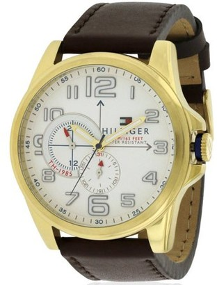 Tommy Hilfiger Men's Gold-Tone Leather Chronograph Watch, 1791003