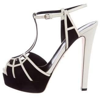 Sergio Rossi Leather Platform Sandals