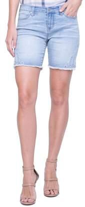Co Liverpool Jeans Corine Embroidered Side Slit Denim Shorts (Winstin)