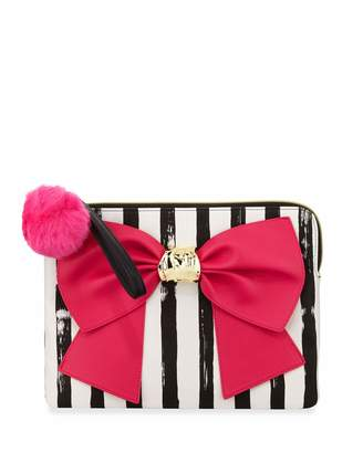 Betsey Johnson Bow and Arrow Striped Bow Pouch Bag, Fuchsia $55 thestylecure.com