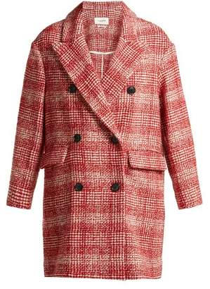 Etoile Isabel Marant Ebra Double Breasted Wool Blend Coat - Womens - Red White