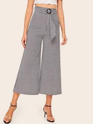 Shein Gingham High Waist Wide Leg Belted Pants