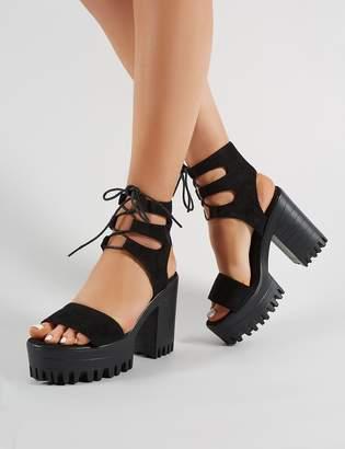 34f43ec59ea Public Desire Hailey Lace Up Chunky Heels Faux Suede