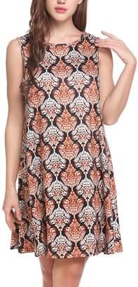 Meaneor Women Casual Sleeveless Round Neck Boho Print Short Dress Sundress S