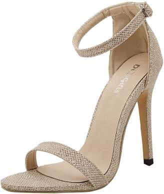 ASVOGUE Women Simple Ankle-strap Buckled Summer Stiletto Sandals