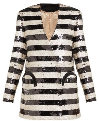 BLAZÉ MILANO Kelpie Striped Sequinned Double Breasted Blazer - Womens - Black White