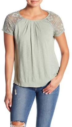 Lucky Brand Lace Short Sleeve Round Neck Top