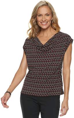 Dana Buchman Women's Travel Anywhere Print Cowlneck Top