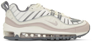 Nike White and Purple Air Max 98 Sneakers