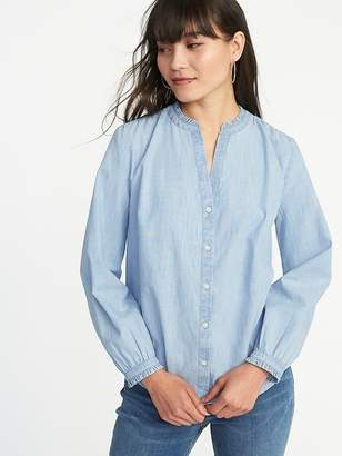 Old Navy Ruffled Banded-Collar Chambray Shirt for Women