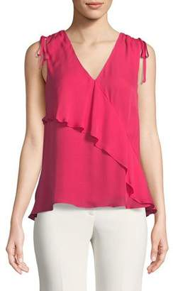 Parker Warnen Silk Asymmetric Ruffle Top