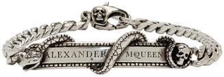 Alexander McQueen Silver Snake and Skull Bracelet